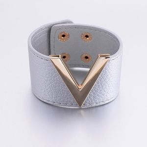 MOUR'  Silver Leather and Gold Bracelet